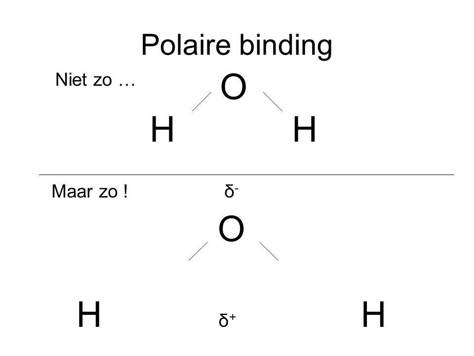 Polaire binding O H H Niet zo … Maar zo ! δ- O H δ+ H