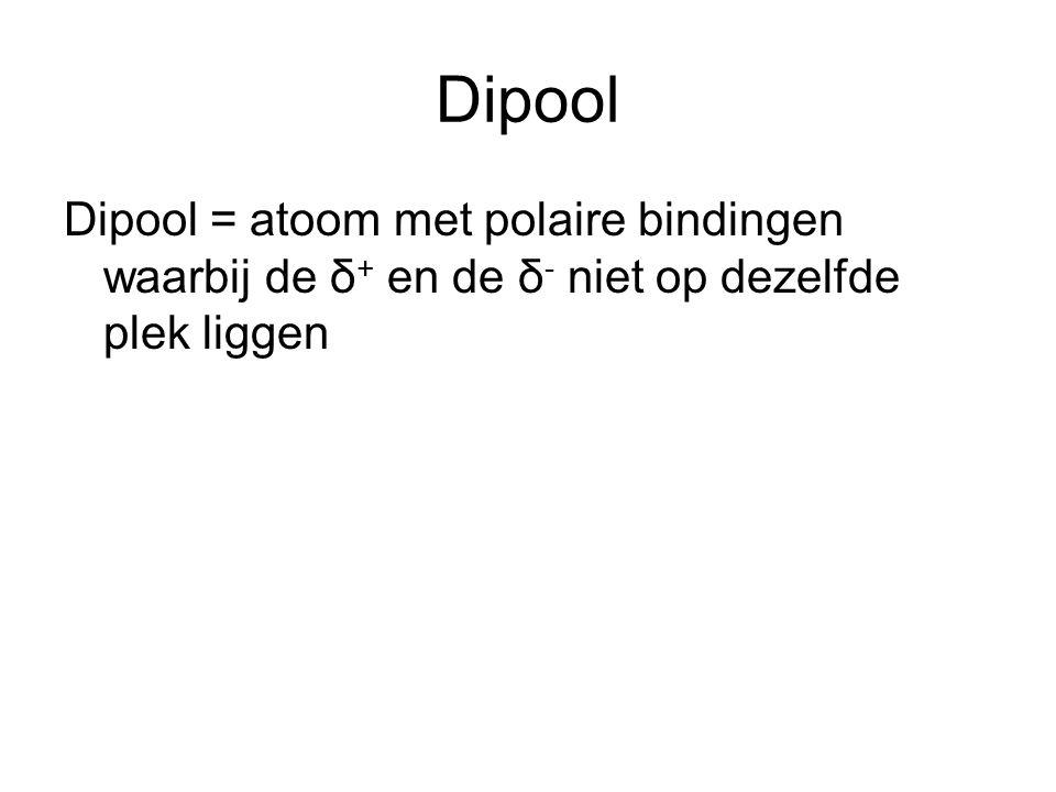 Dipool Dipool = atoom met polaire bindingen waarbij de δ+ en de δ- niet op dezelfde plek liggen