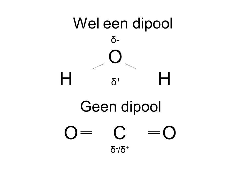Wel een dipool δ- O H δ+ H Geen dipool O C O δ-/δ+