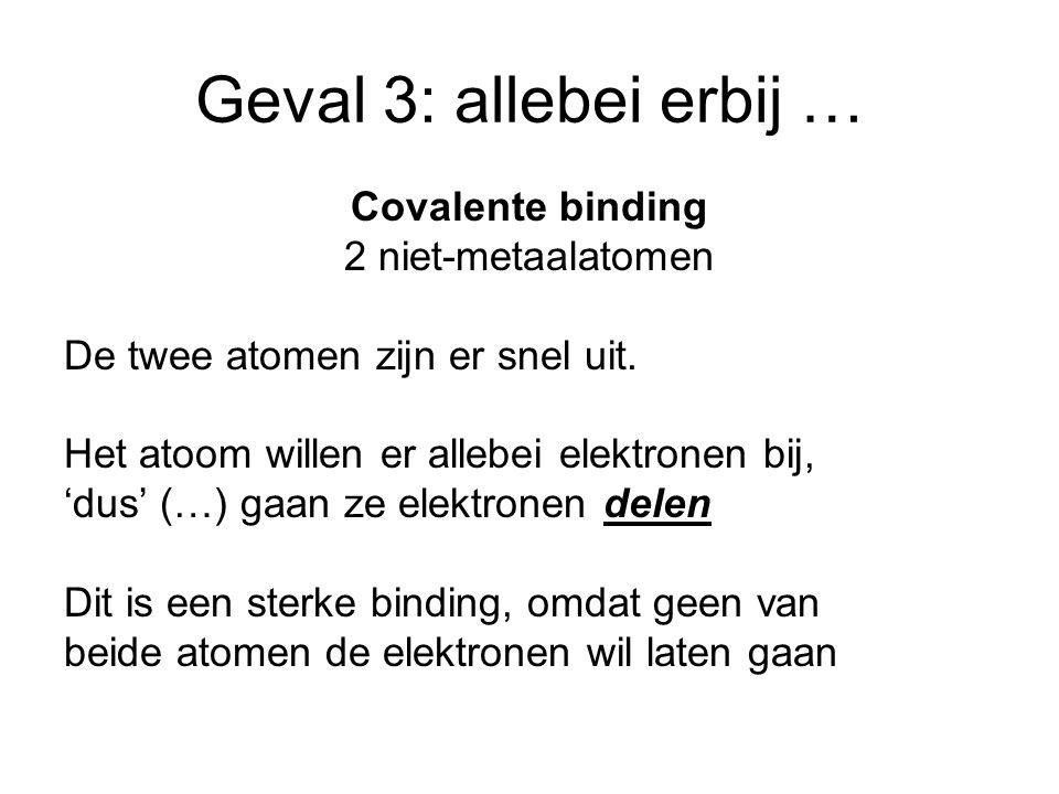 Geval 3: allebei erbij … Covalente binding 2 niet-metaalatomen