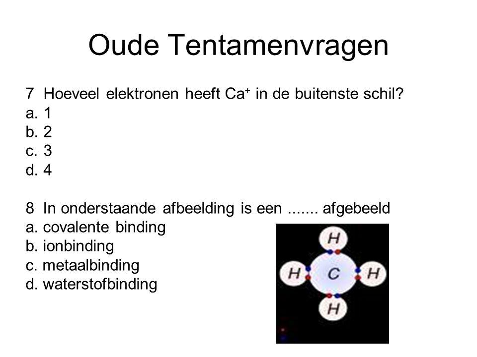 Oude Tentamenvragen 7 Hoeveel elektronen heeft Ca+ in de buitenste schil a. 1. b. 2. c. 3. d. 4.