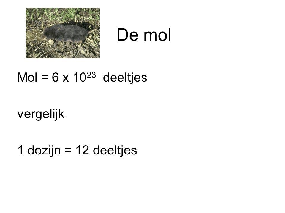 De mol Mol = 6 x 1023 deeltjes vergelijk 1 dozijn = 12 deeltjes