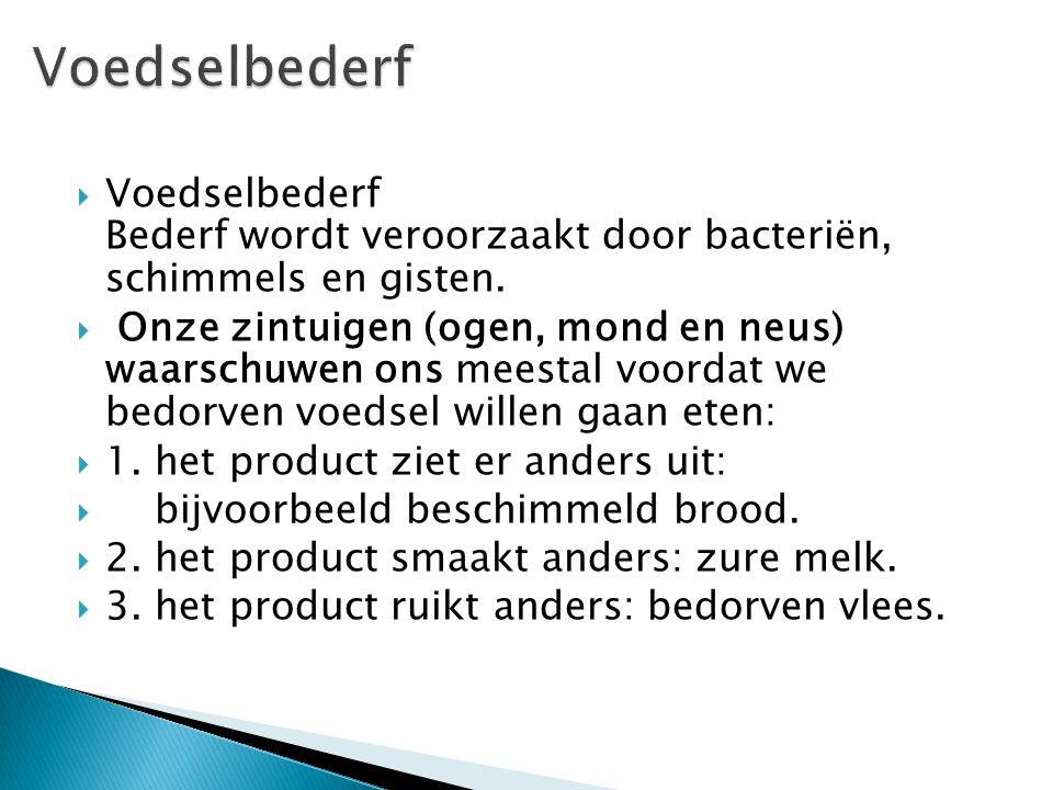Voedselbederf Voedselbederf Bederf wordt veroorzaakt door bacteriën, schimmels en gisten.