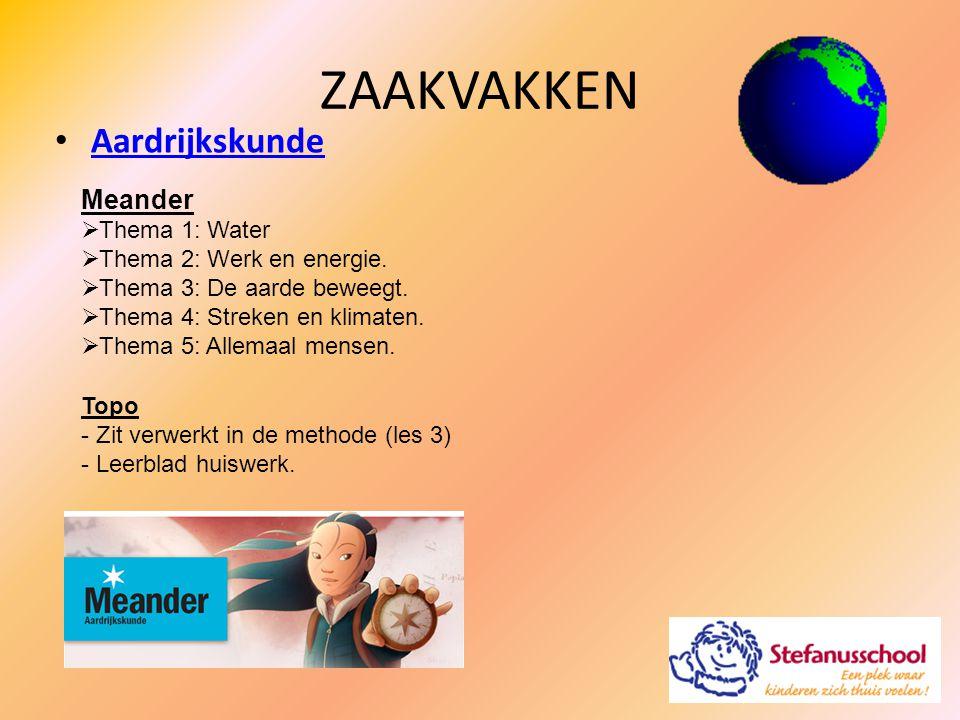 ZAAKVAKKEN Aardrijkskunde Meander Thema 1: Water