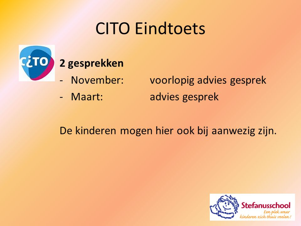 CITO Eindtoets 2 gesprekken November: voorlopig advies gesprek