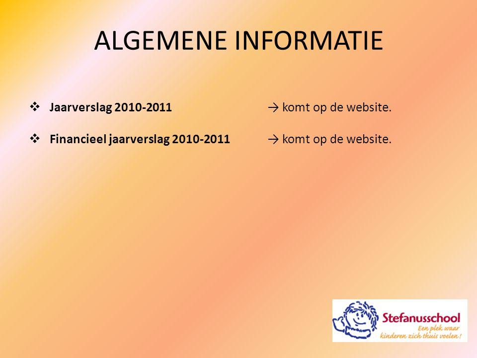 ALGEMENE INFORMATIE Jaarverslag 2010-2011 → komt op de website.