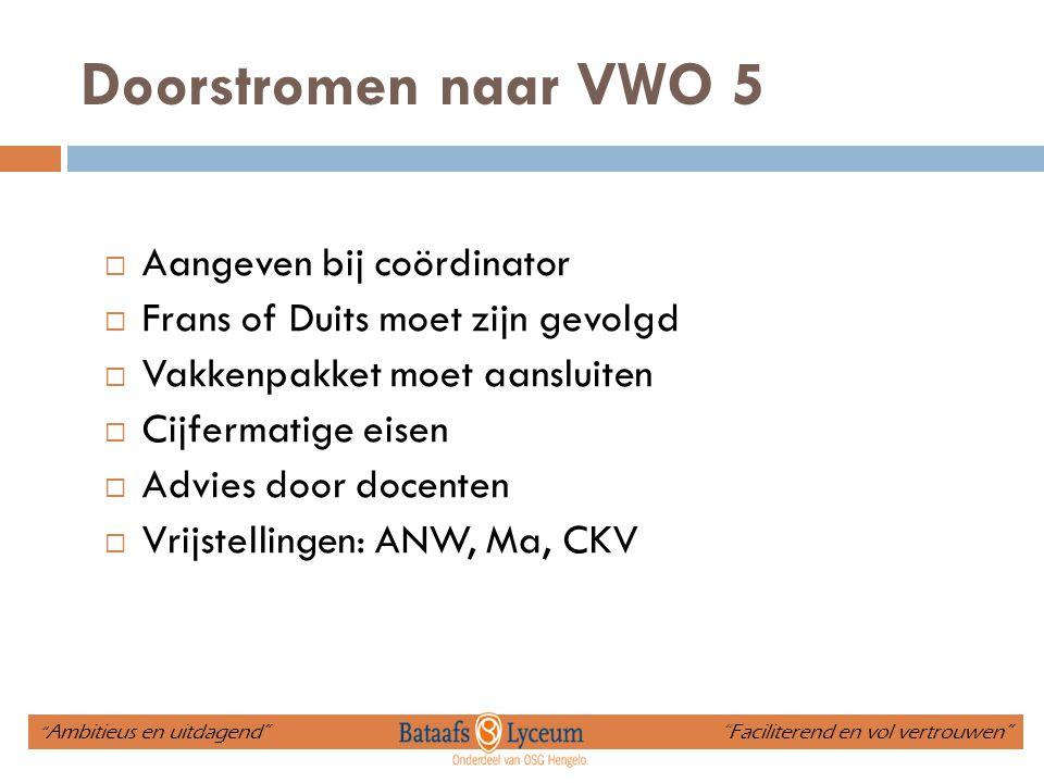 Doorstromen naar VWO 5 Aangeven bij coördinator