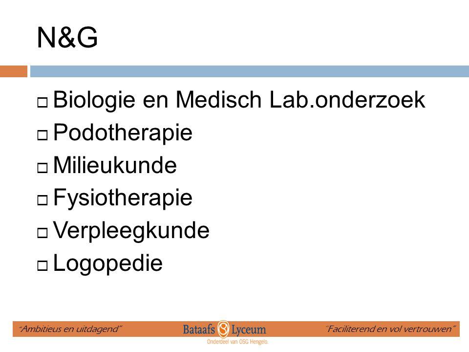 N&G Biologie en Medisch Lab.onderzoek Podotherapie Milieukunde
