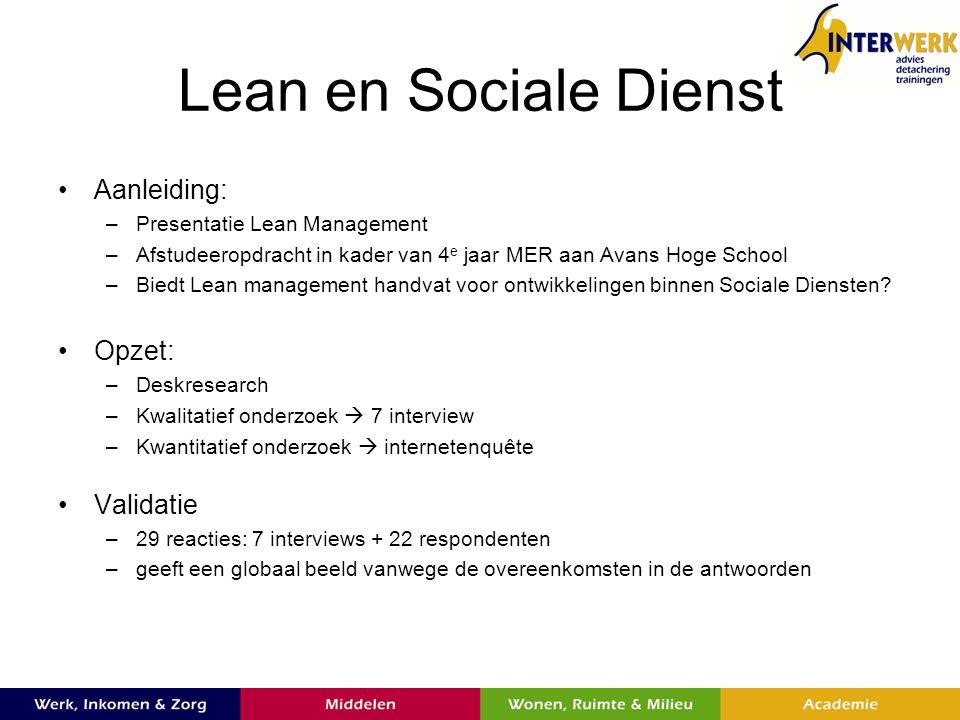 Lean en Sociale Dienst Aanleiding: Opzet: Validatie