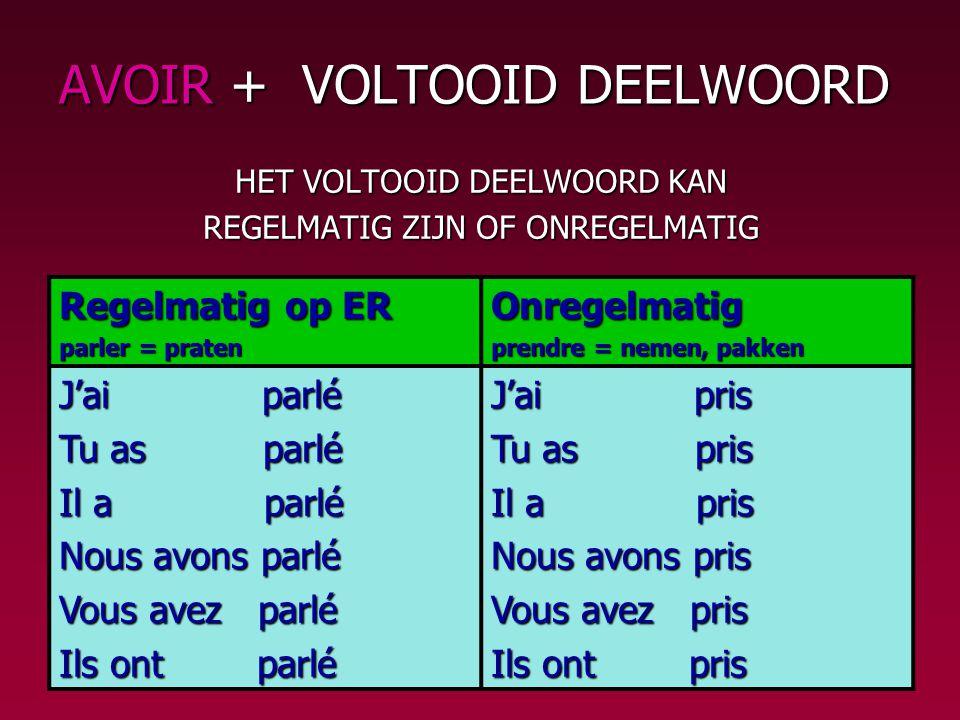 AVOIR + VOLTOOID DEELWOORD