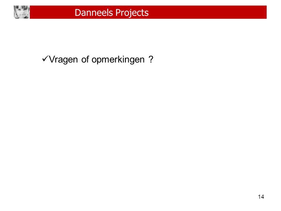 Danneels Projects Vragen of opmerkingen