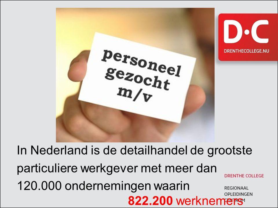 In Nederland is de detailhandel de grootste particuliere werkgever met meer dan 120.000 ondernemingen waarin 822.200 werknemers