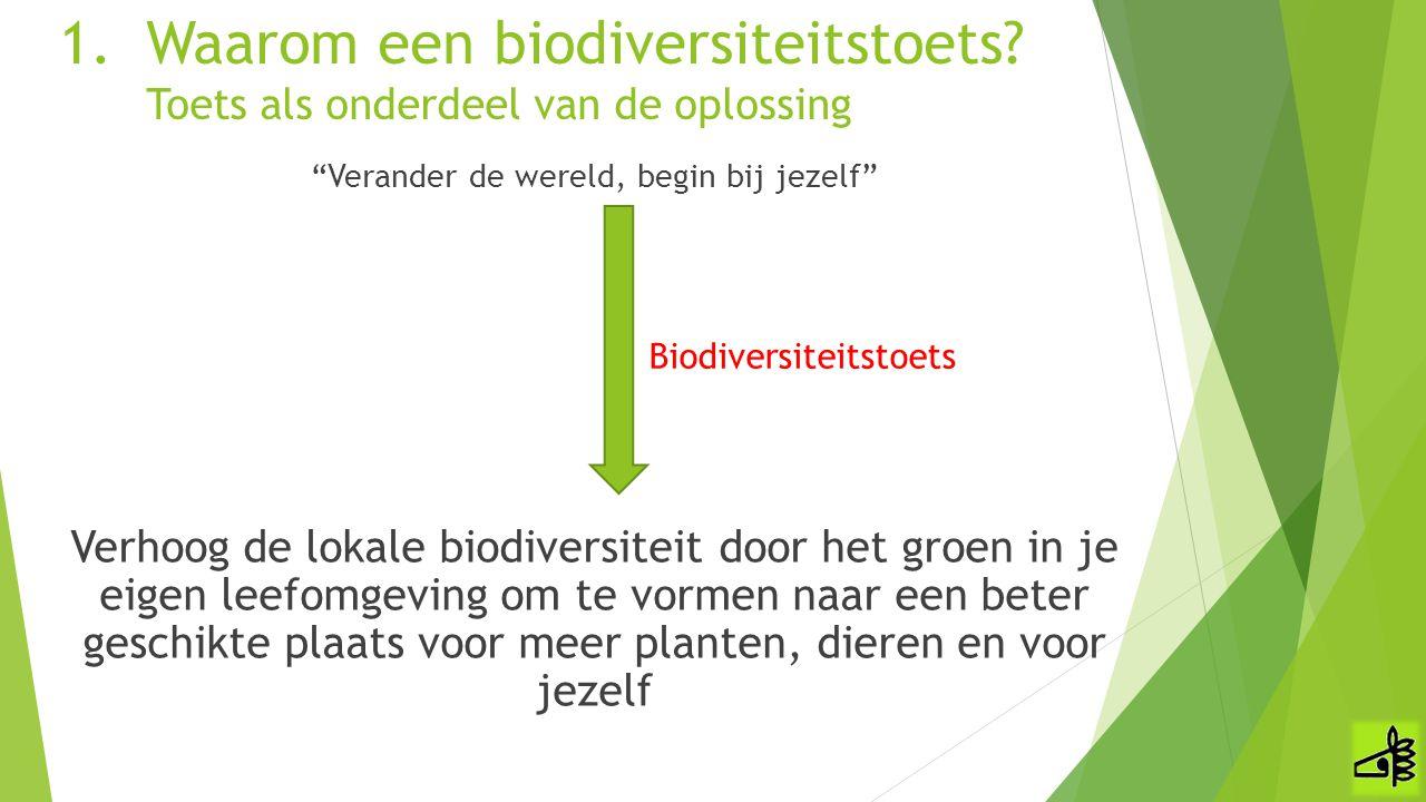 Waarom een biodiversiteitstoets Toets als onderdeel van de oplossing