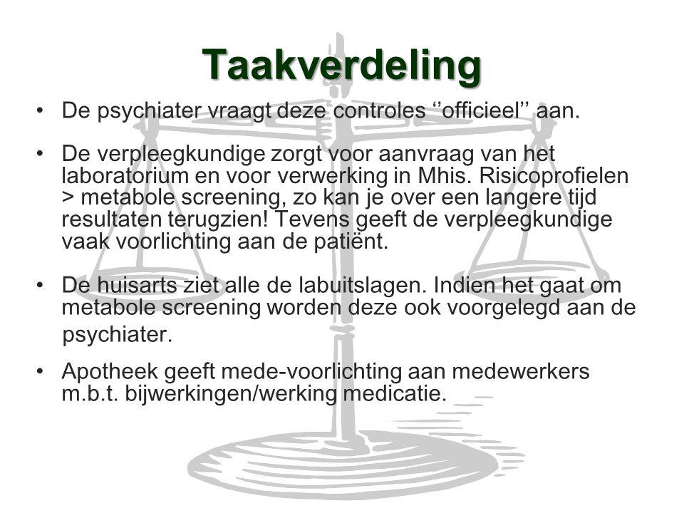 Taakverdeling De psychiater vraagt deze controles ''officieel'' aan.