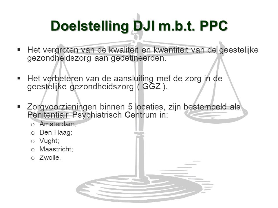 Doelstelling DJI m.b.t. PPC