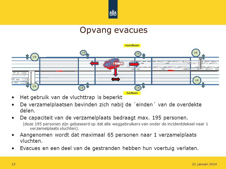Opvang evacues Het gebruik van de vluchttrap is beperkt
