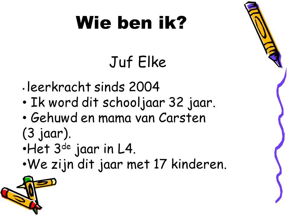 Wie ben ik Juf Elke Ik word dit schooljaar 32 jaar.