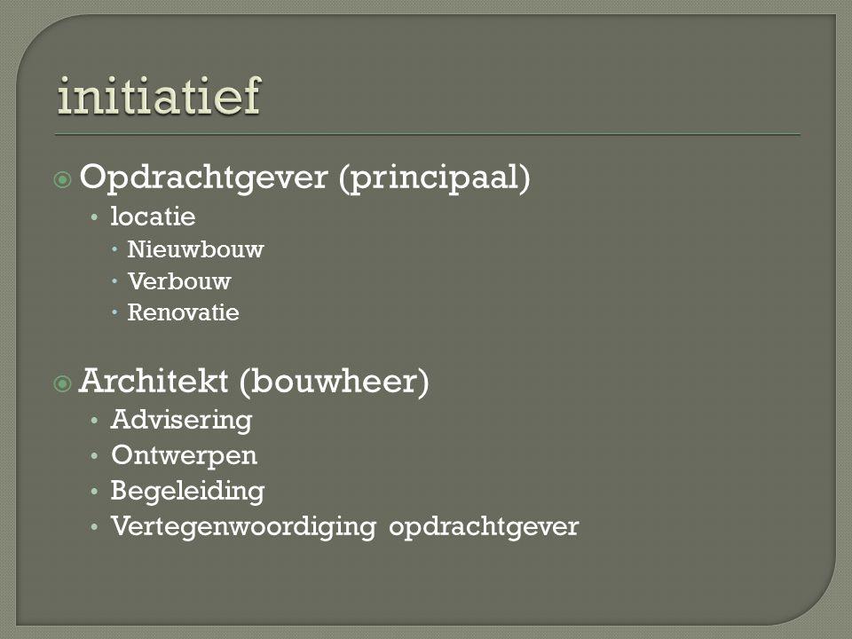 initiatief Opdrachtgever (principaal) Architekt (bouwheer) locatie