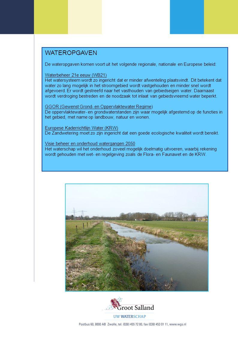 WATEROPGAVEN De wateropgaven komen voort uit het volgende regionale, nationale en Europese beleid: