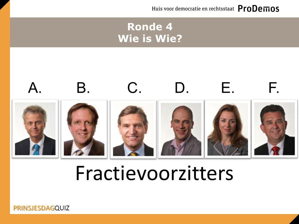 Fractievoorzitters A. B. C. D. E. F. Ronde 4 Wie is Wie