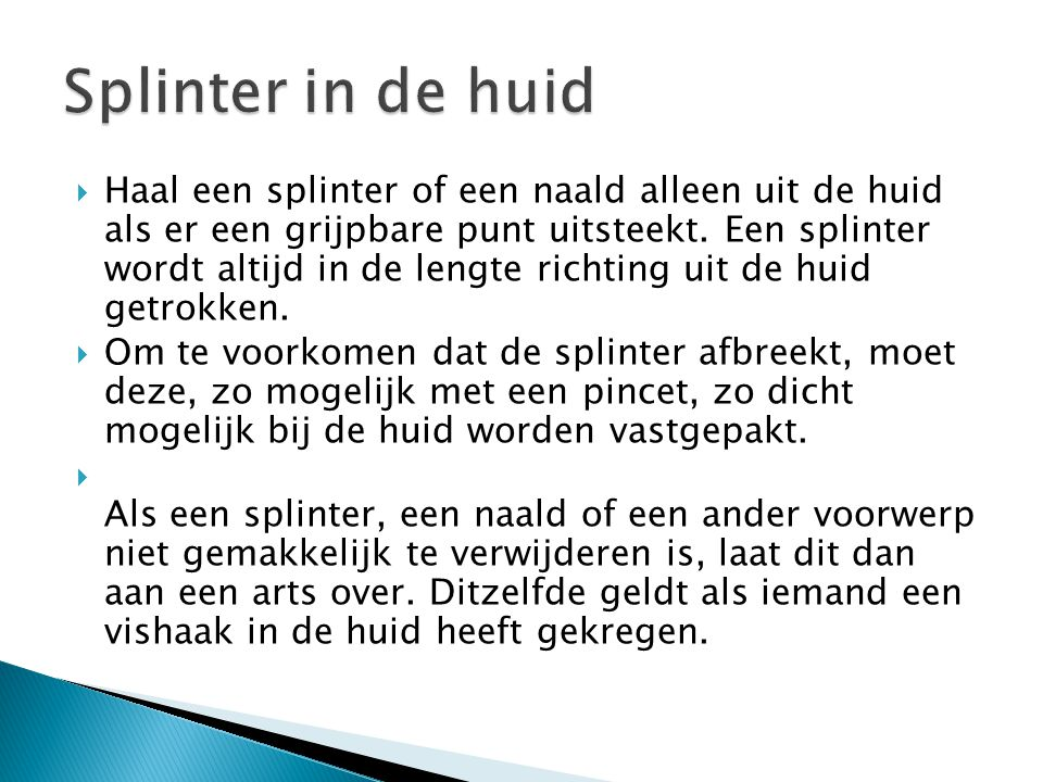 Splinter in de huid
