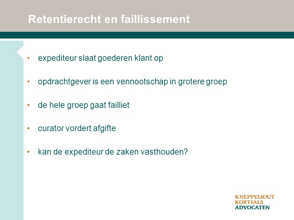 Retentierecht en faillissement