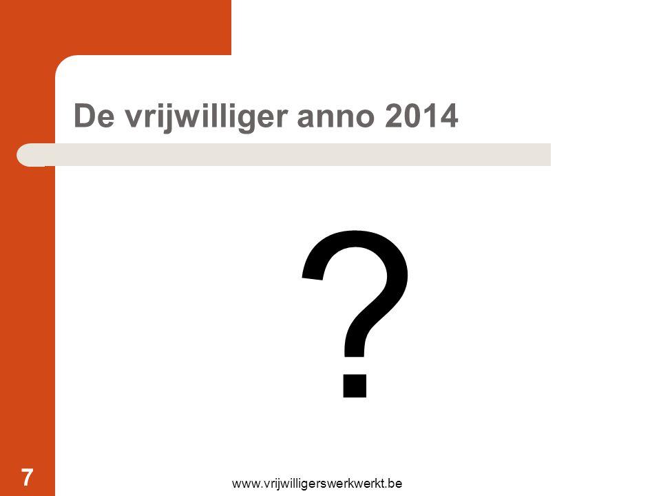 De vrijwilliger anno 2014 www.vrijwilligerswerkwerkt.be