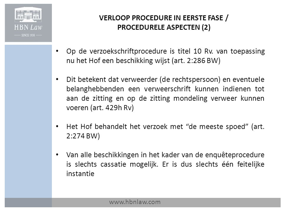 VERLOOP PROCEDURE IN EERSTE FASE / PROCEDURELE ASPECTEN (2)