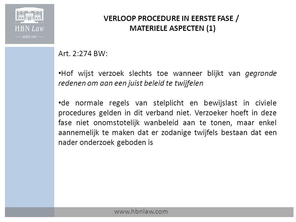 VERLOOP PROCEDURE IN EERSTE FASE / MATERIELE ASPECTEN (1)