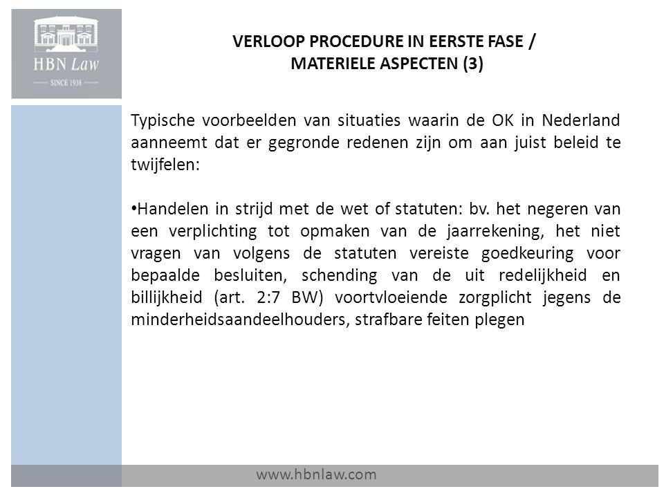 VERLOOP PROCEDURE IN EERSTE FASE / MATERIELE ASPECTEN (3)