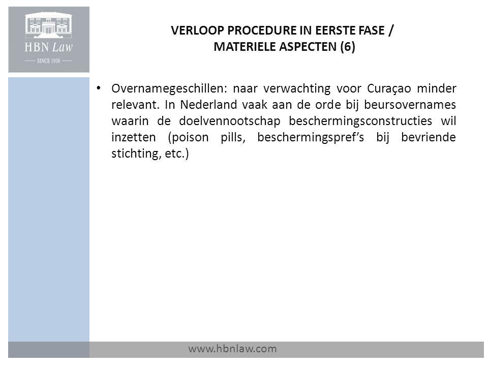 VERLOOP PROCEDURE IN EERSTE FASE / MATERIELE ASPECTEN (6)