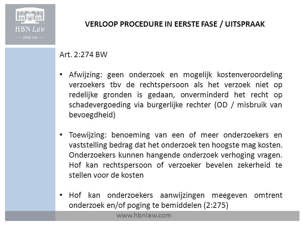 VERLOOP PROCEDURE IN EERSTE FASE / UITSPRAAK