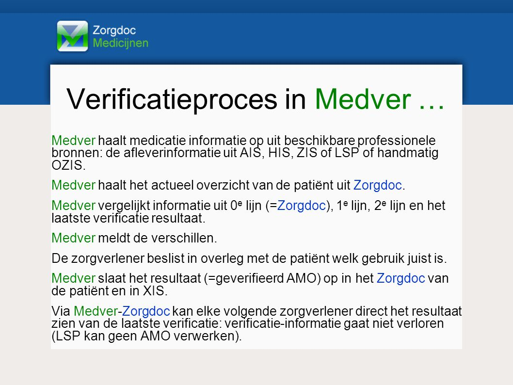 Verificatieproces in Medver …