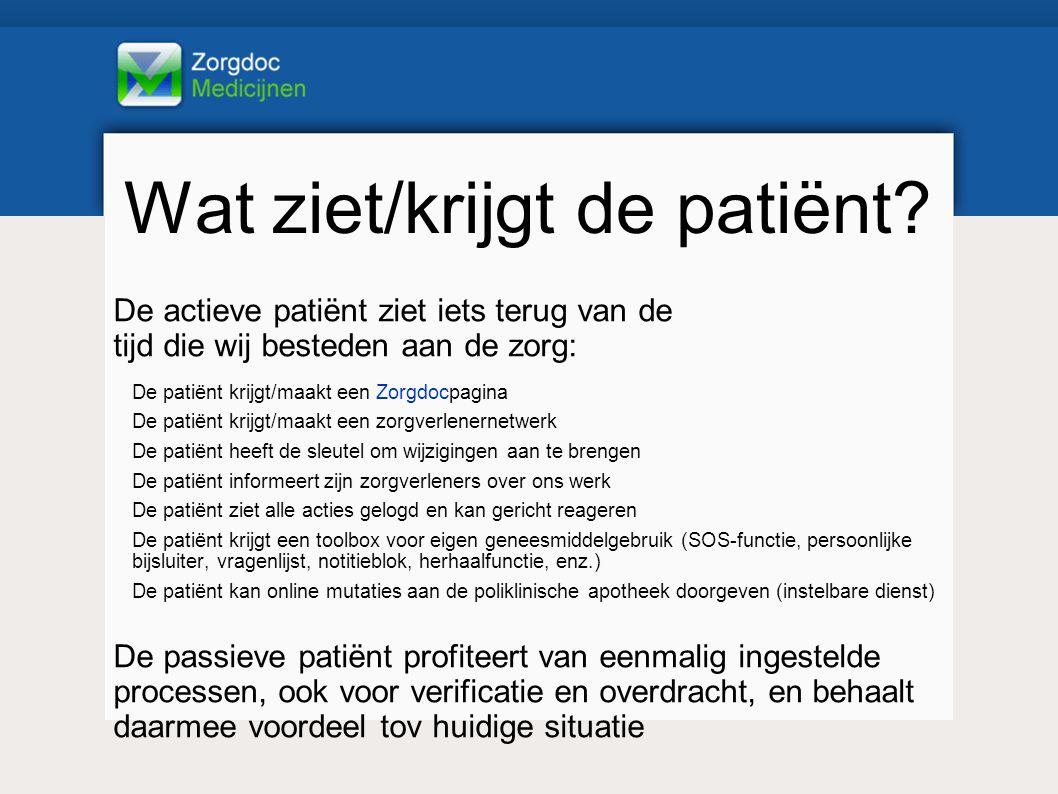 Wat ziet/krijgt de patiënt