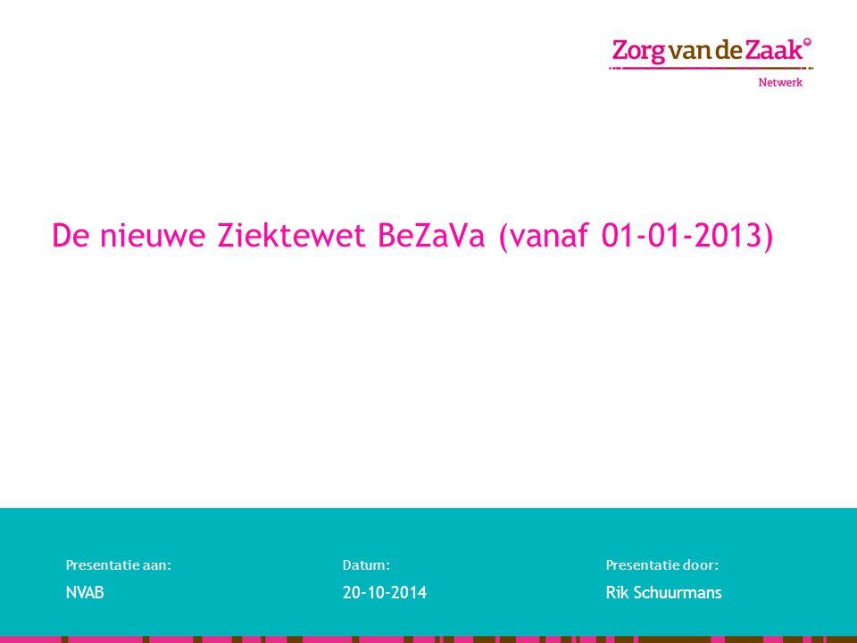 De nieuwe Ziektewet BeZaVa (vanaf 01-01-2013)