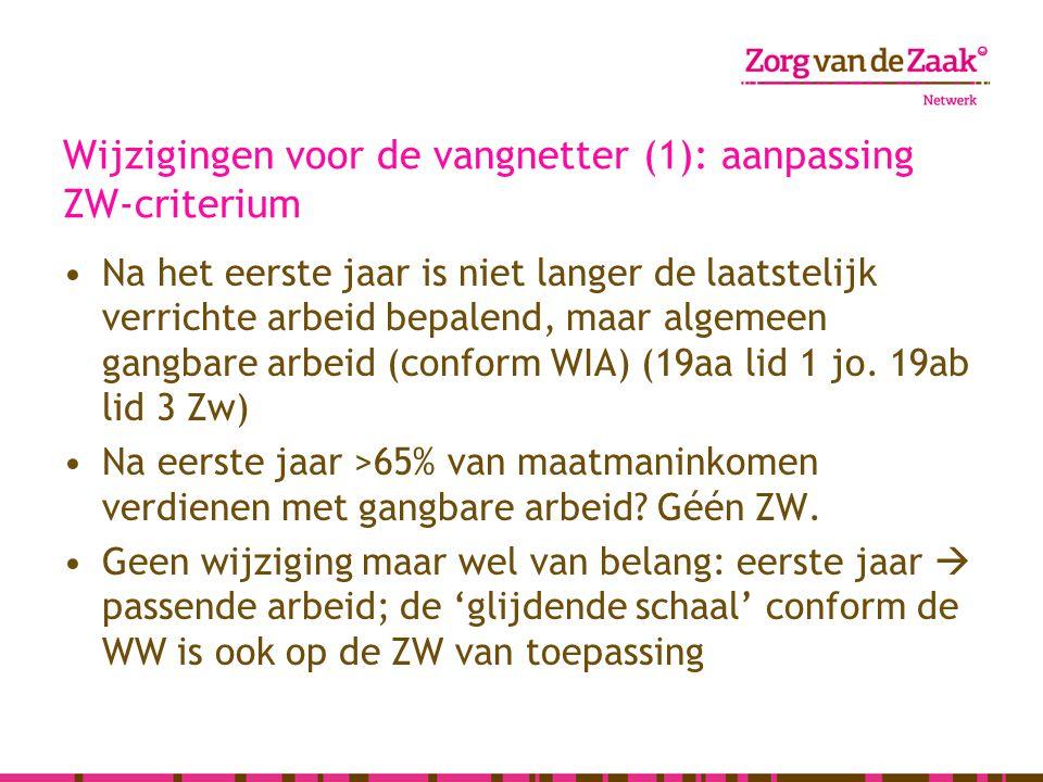 Wijzigingen voor de vangnetter (1): aanpassing ZW-criterium