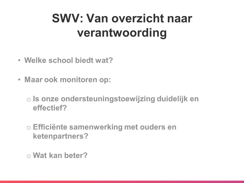SWV: Van overzicht naar verantwoording