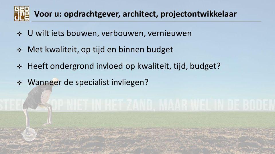 Voor u: opdrachtgever, architect, projectontwikkelaar