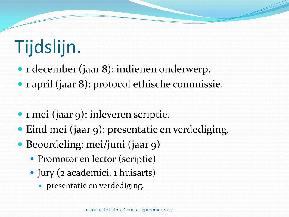 Tijdslijn. 1 december (jaar 8): indienen onderwerp.