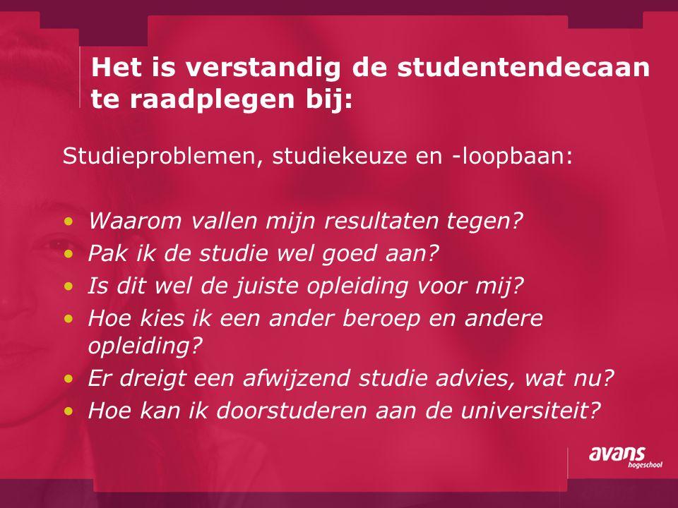 Het is verstandig de studentendecaan te raadplegen bij: