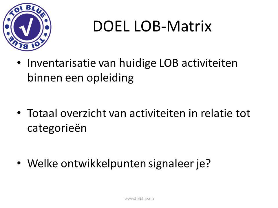 DOEL LOB-Matrix Inventarisatie van huidige LOB activiteiten binnen een opleiding. Totaal overzicht van activiteiten in relatie tot categorieën.