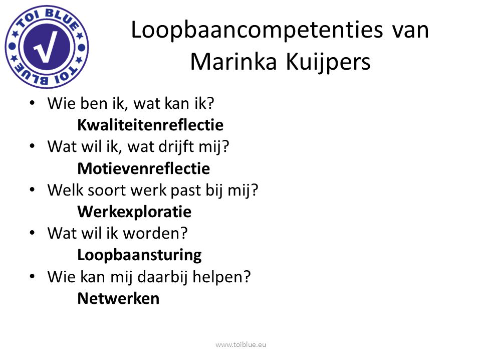 Loopbaancompetenties van Marinka Kuijpers