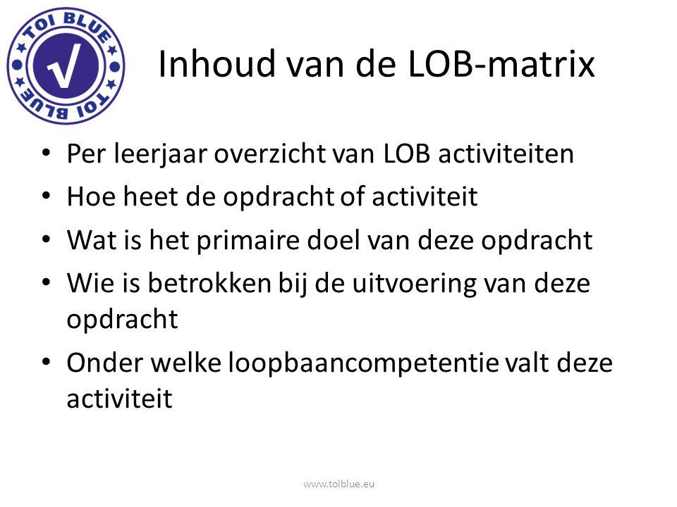 Inhoud van de LOB-matrix