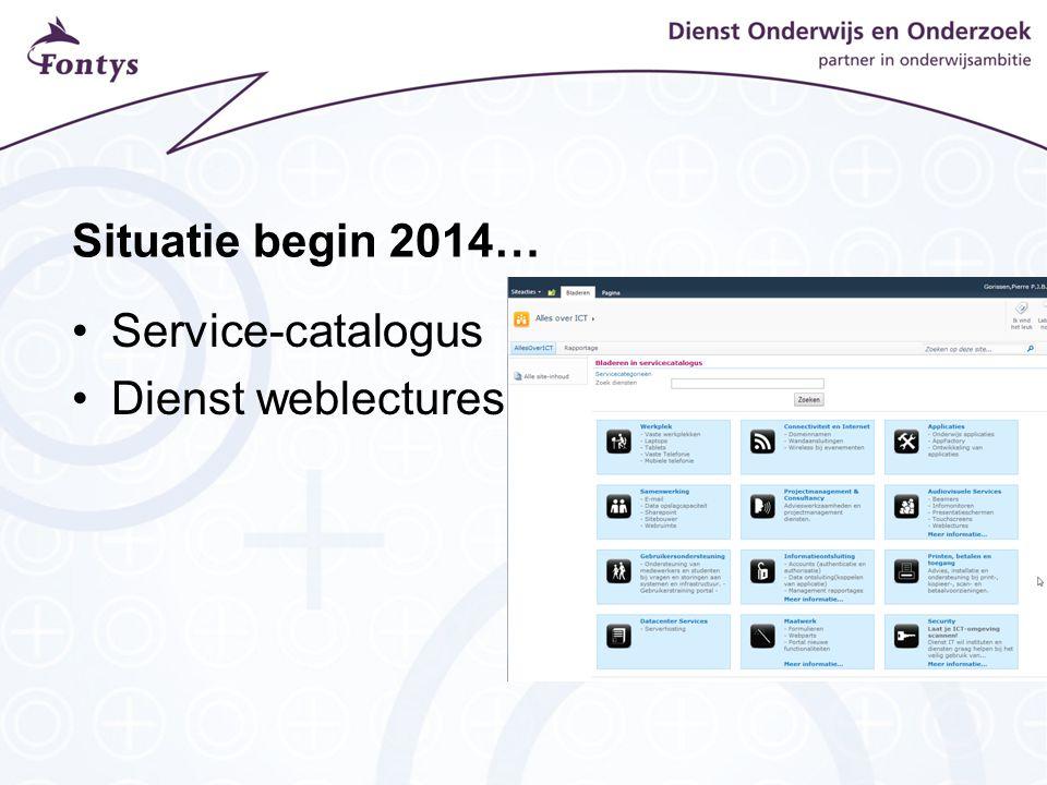 Situatie begin 2014… Service-catalogus Dienst weblectures