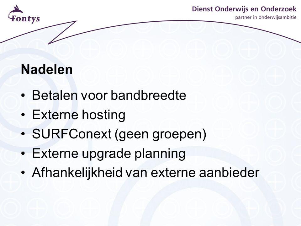 Nadelen Betalen voor bandbreedte. Externe hosting. SURFConext (geen groepen) Externe upgrade planning.