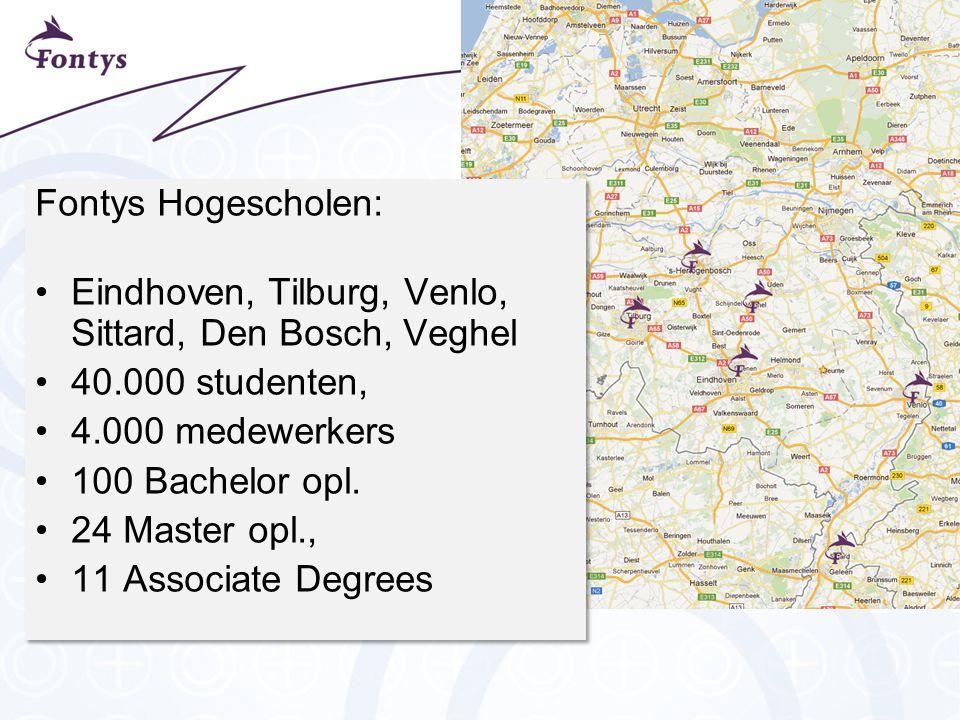 Fontys Hogescholen: Eindhoven, Tilburg, Venlo, Sittard, Den Bosch, Veghel. 40.000 studenten, 4.000 medewerkers.