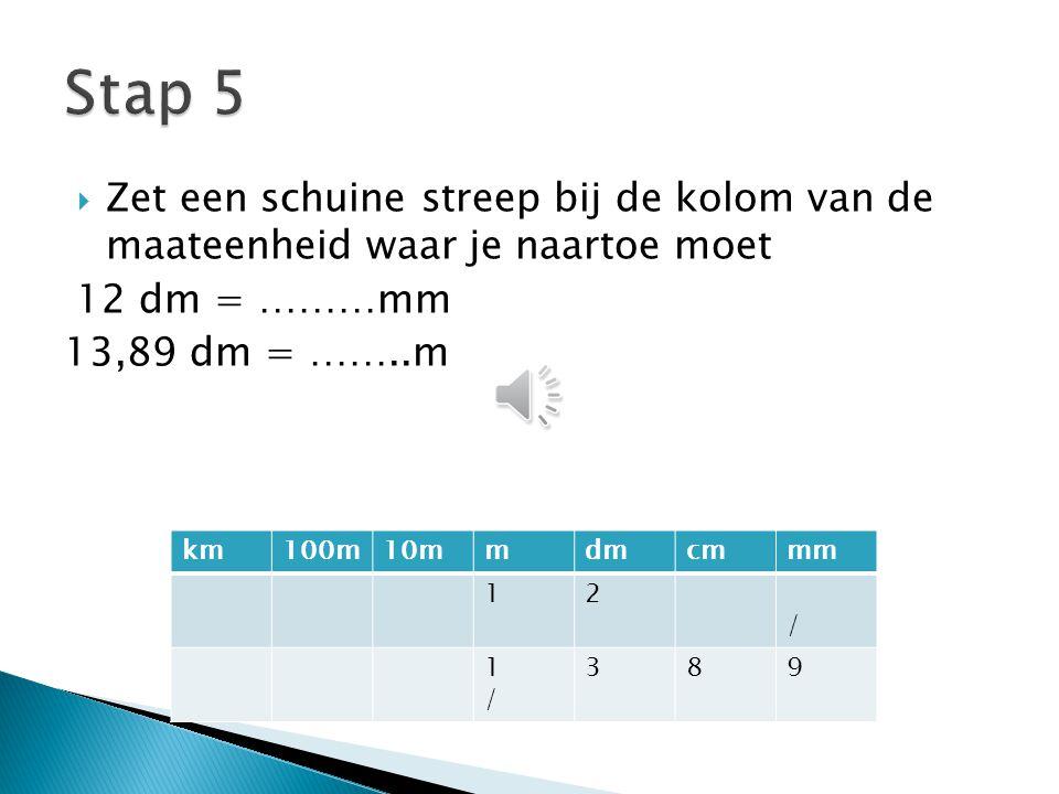 Stap 5 Zet een schuine streep bij de kolom van de maateenheid waar je naartoe moet. 12 dm = ………mm.