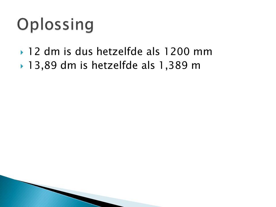 Oplossing 12 dm is dus hetzelfde als 1200 mm