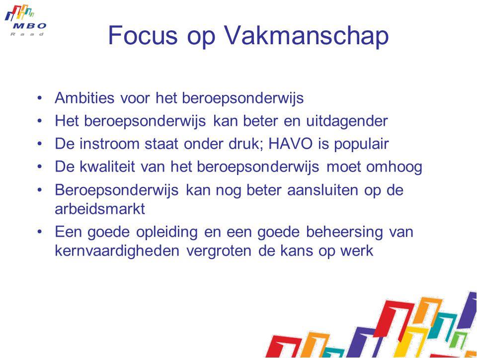 Focus op Vakmanschap Ambities voor het beroepsonderwijs