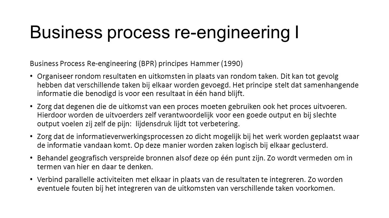 Business process re-engineering I